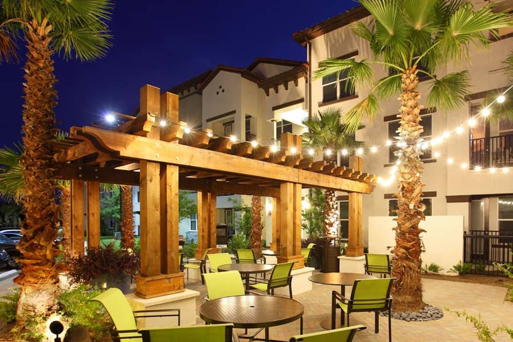 Patio with lights at night at Jefferson Westshore in Tampa, Florida