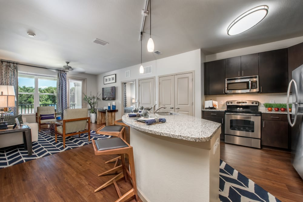 Kitchen and dining room layout at Jefferson Westshore in Tampa, Florida