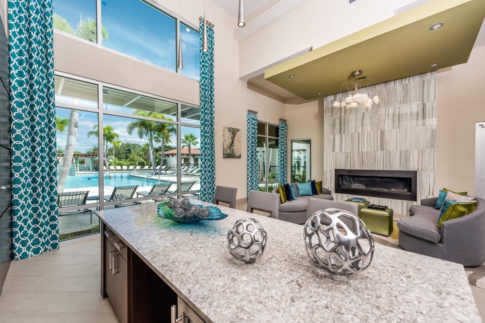 Clubhouse with pool view at Jefferson Westshore in Tampa, Florida