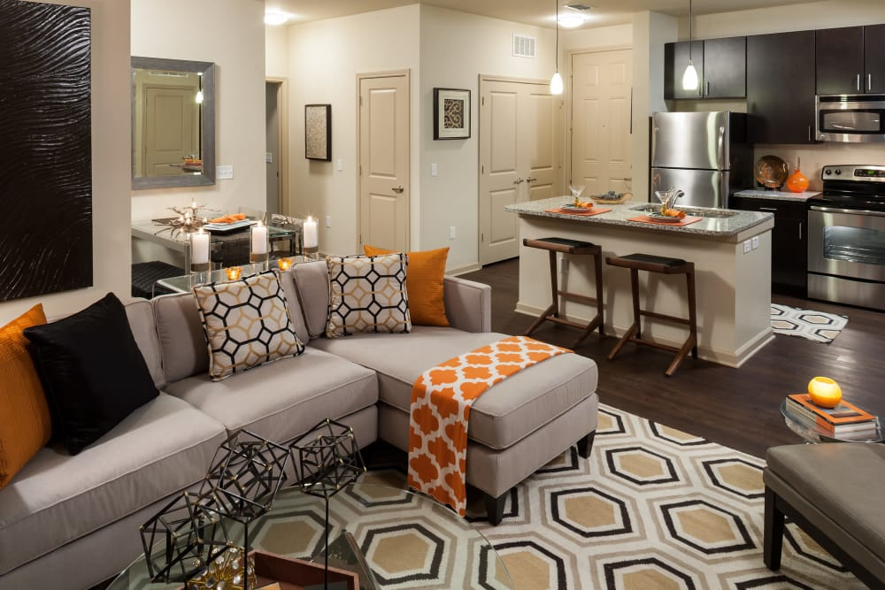 Living room and kitchen at Jefferson Westshore in Tampa, Florida