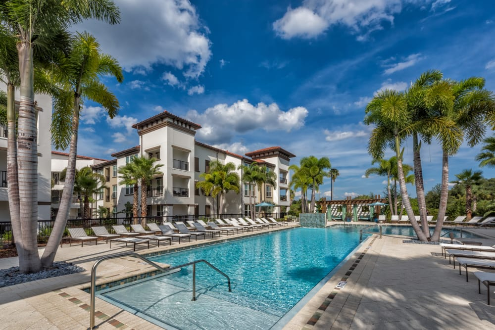 Outdoor pool with big sky at Jefferson Westshore in Tampa, Florida