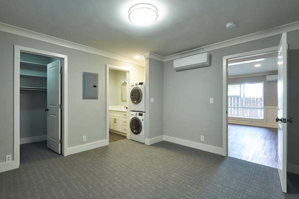 Bedroom with a washer and dryer at Ladera in Lafayette, California