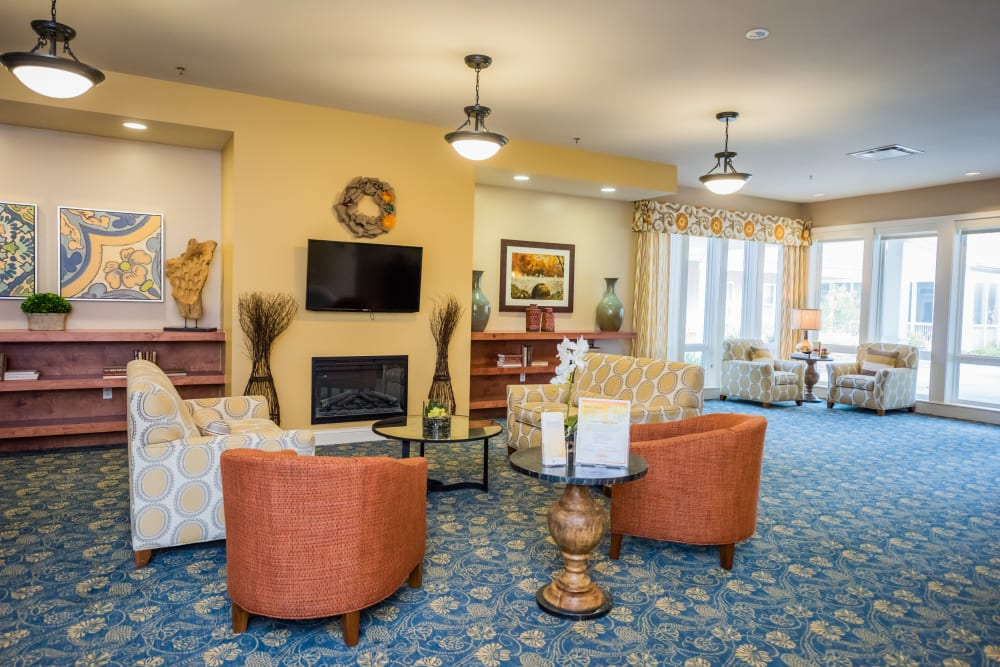 An entertainment area at Avenir Memory Care at Fayetteville in Fayetteville, Arkansas