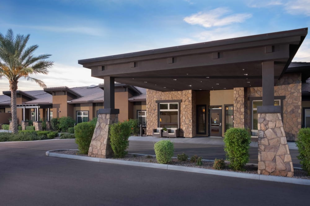 Building exterior of Avenir Memory Care at Chandler in Chandler, Arizona.