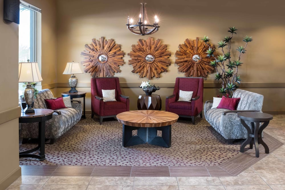 Seating in the lobby at Avenir Memory Care at Chandler in Chandler, Arizona.