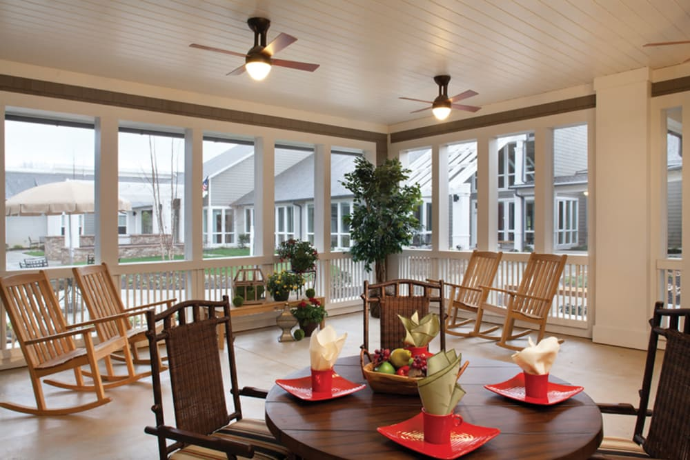 Covered porch at Avenir Memory Care at Knoxville in Knoxville, Tennessee.