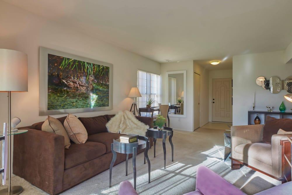Brown living room in Farmington Hills, Michigan at Muirwood