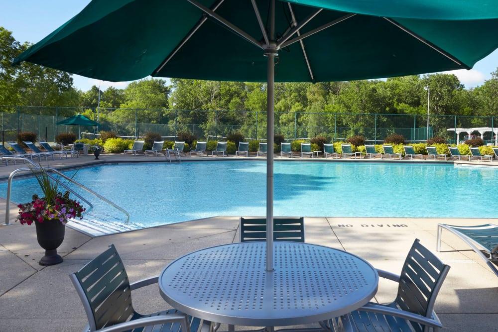 Poolside table at Muirwood in Farmington Hills, Michigan