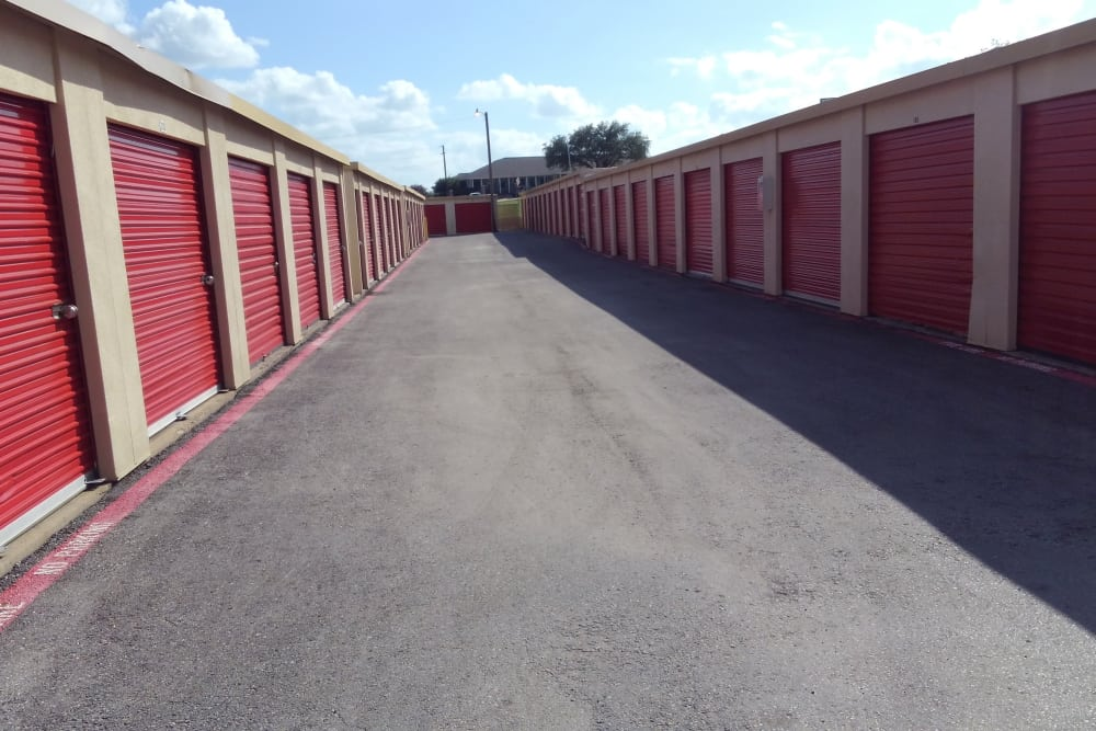 Exterior units at StorQuest Self Storage in Fort Worth, TX
