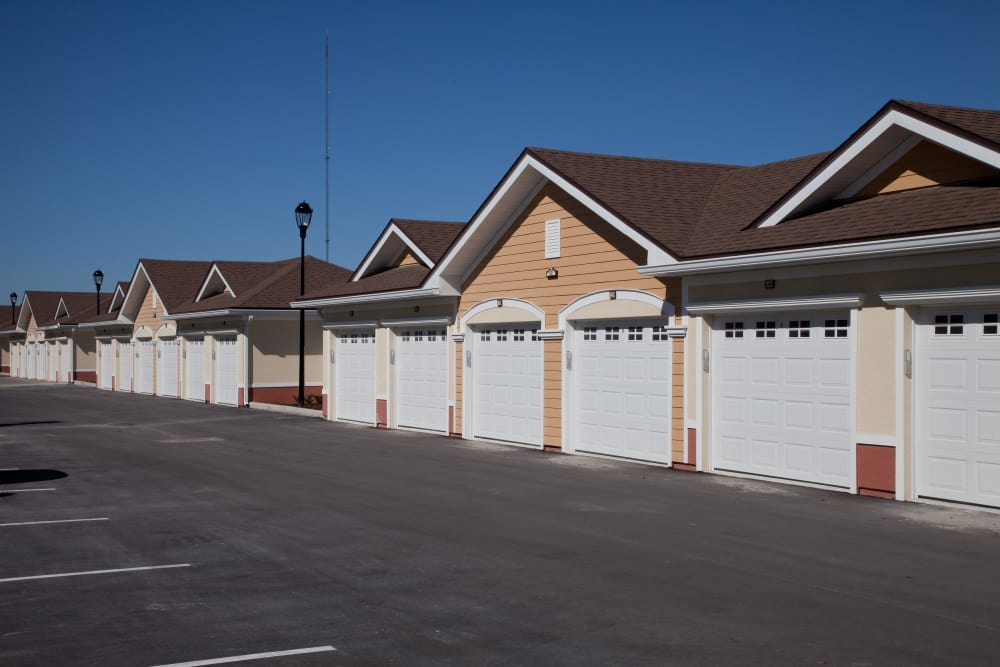 Garages of apartments at Villa Grande on Saxon in Orange City, Florida