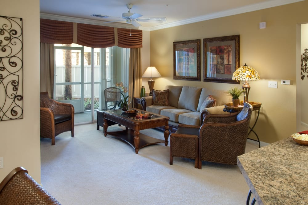 Model living room in Orange City, Florida at Villa Grande on Saxon