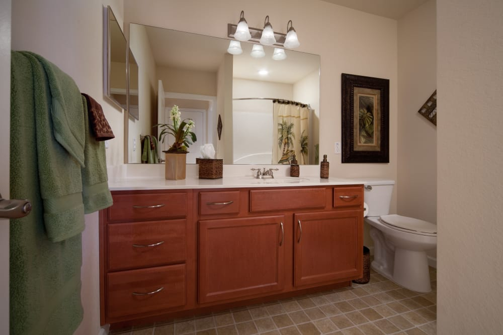 Illuminated master bathroom at Villa Grande on Saxon in Orange City, Florida