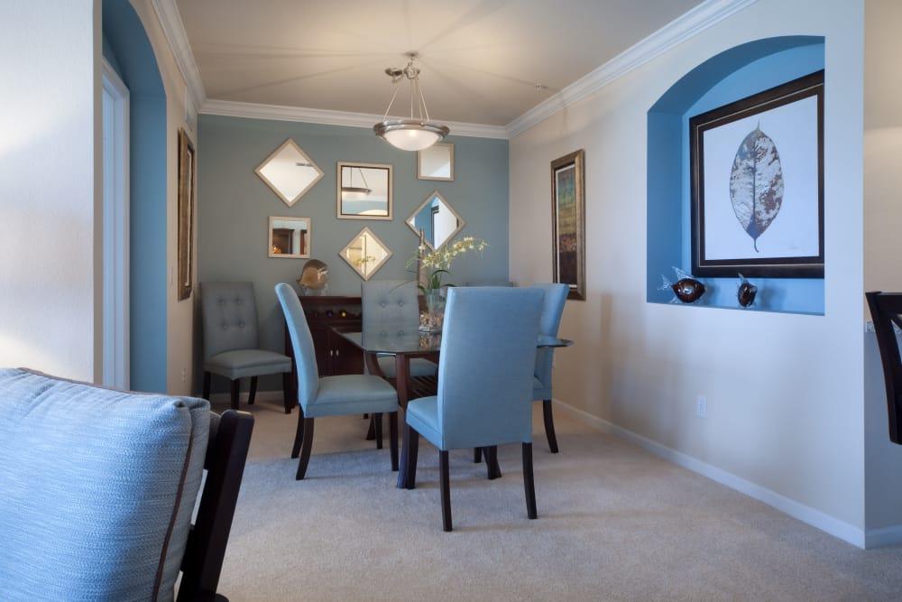 Furnished living room in model home at Villa Grande on Saxon in Orange City, Florida