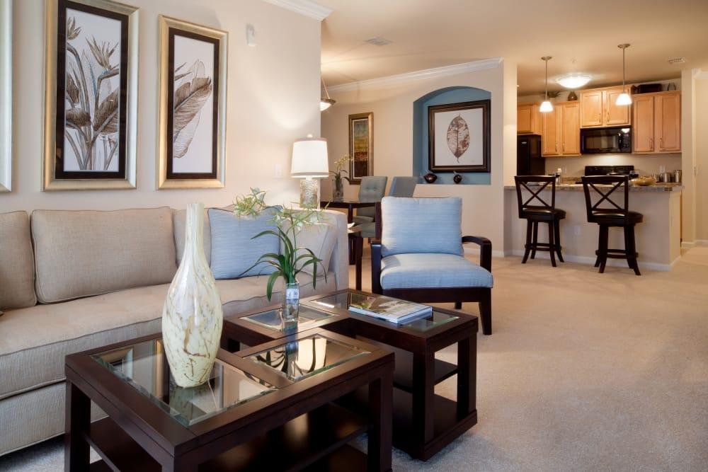 Living room in model home at Villa Grande on Saxon in Orange City, Florida