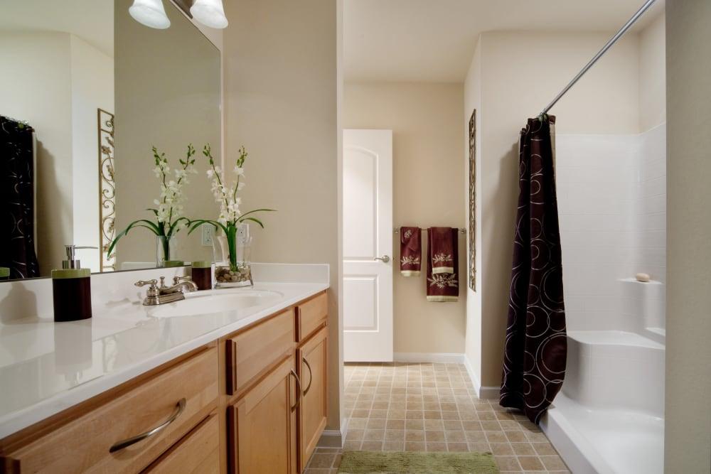 Bathroom in apartment in Orange City, Florida at Villa Grande on Saxon