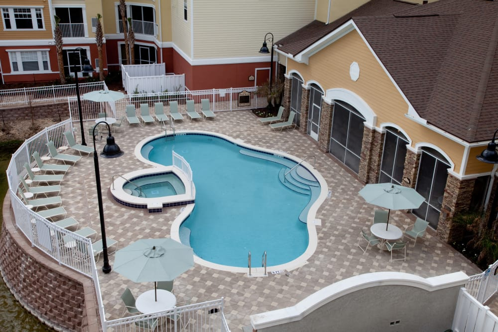 Aerial view of swimming pool at Villa Grande on Saxon in Orange City, Florida