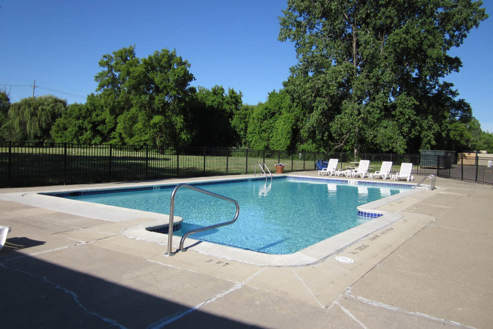 The community pool for residents at Concorde Club Apartments in Romulus, Michigan