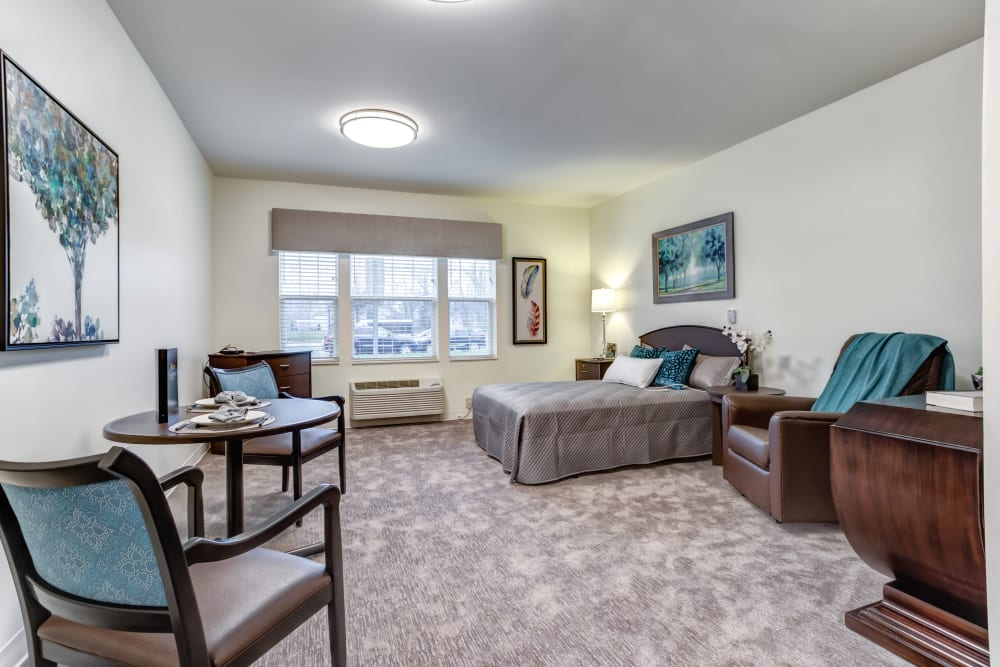 A decorated model bedroom at Taylor Springs Health Campus in Columbus, Ohio.