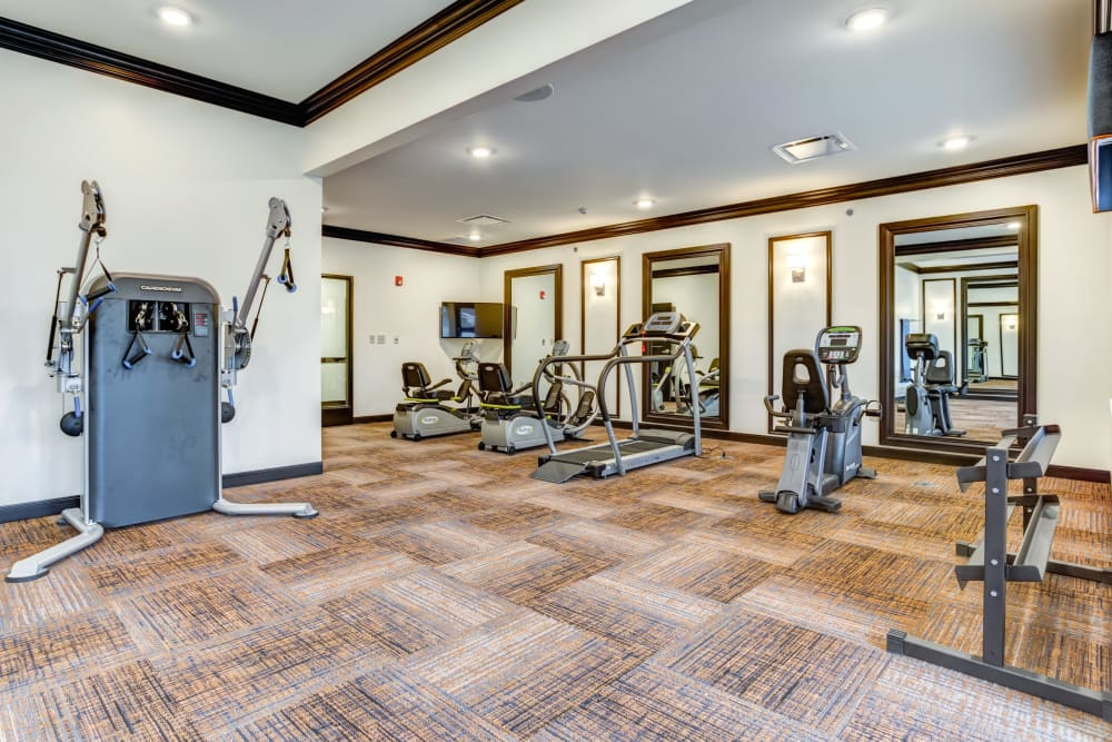 Exercise equipment in the gym at Taylor Springs Health Campus in Columbus, Ohio