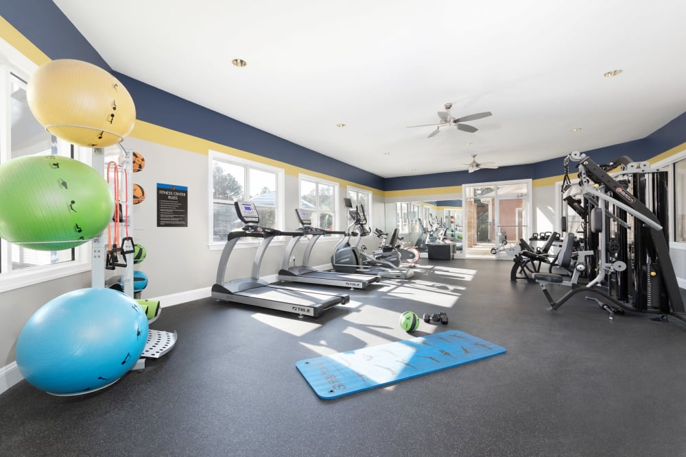 Spacious and well-equipped fitness center at 200 East in Durham, North Carolina