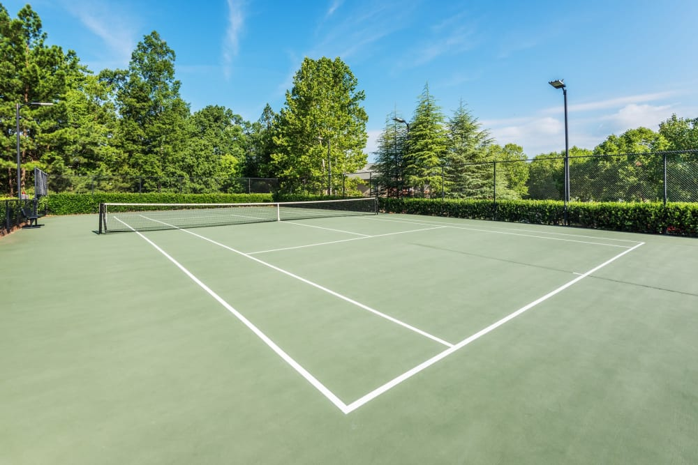 Well-maintained tennis courts at 200 East in Durham, North Carolina