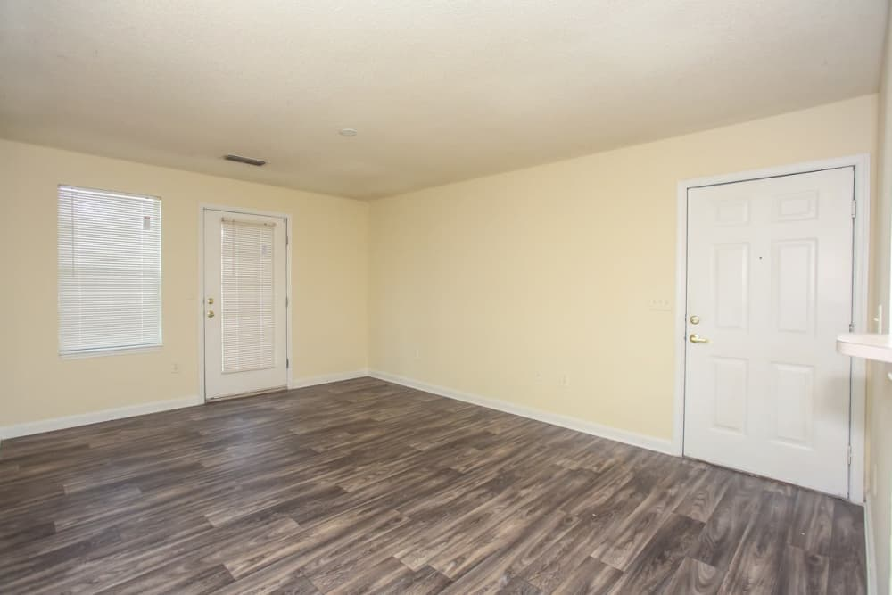 Wood flooring in an apartment living room at Oconee Springs Apartments in Gainesville, Georgia