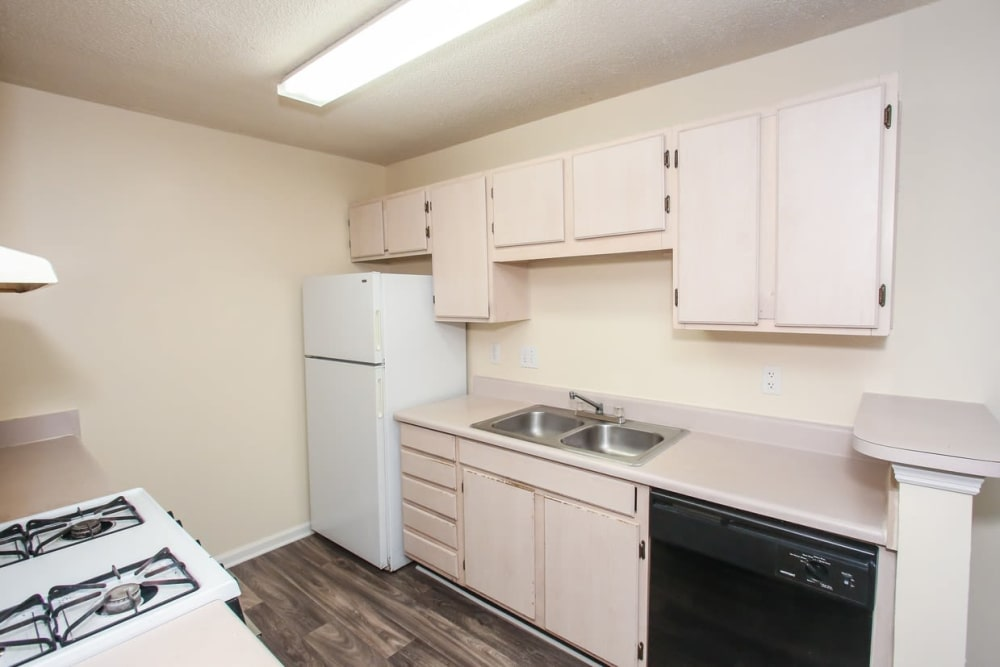 Plenty of cabinet space in the kitchen at Oconee Springs Apartments in Gainesville, Georgia