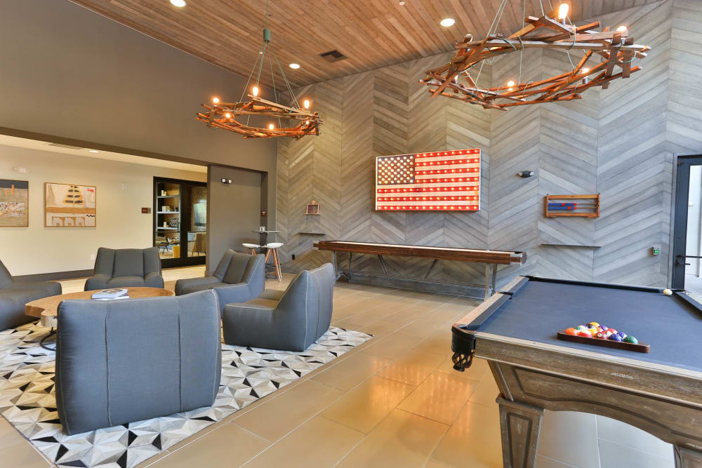 Contemporary decor in resident clubhouse and game room at Avant at Fashion Center in Chandler, Arizona