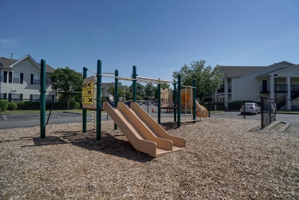 A community playground for children at Etowah Village Apartments in Cartersville, Georgia