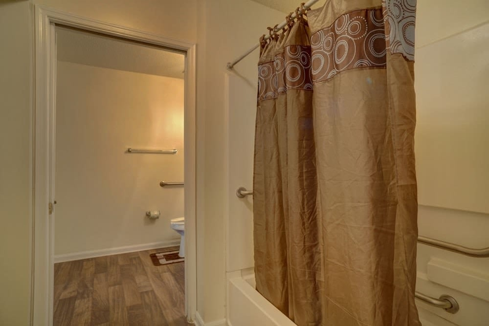An accessible shower at Etowah Village Apartments in Cartersville, Georgia