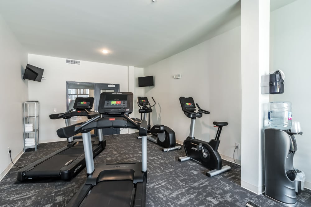 Fitness center with treadmills at Echelon Luxury Apartments in Cincinnati, Ohio