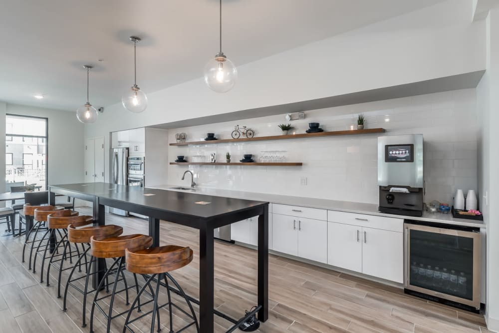 Clubhouse kitchen at Echelon Luxury Apartments in Cincinnati, Ohio