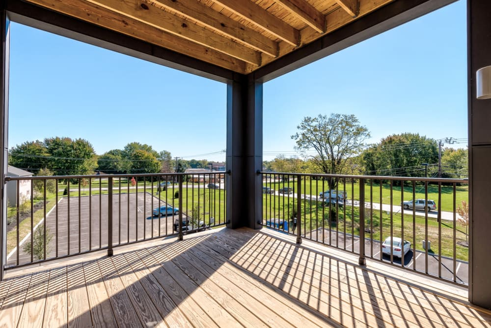 Covered deck at Echelon Luxury Apartments in Cincinnati, Ohio