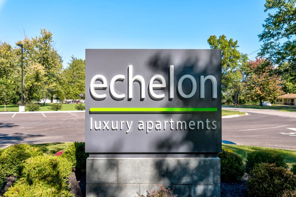 Welcome sign at Echelon Luxury Apartments in Cincinnati, Ohio