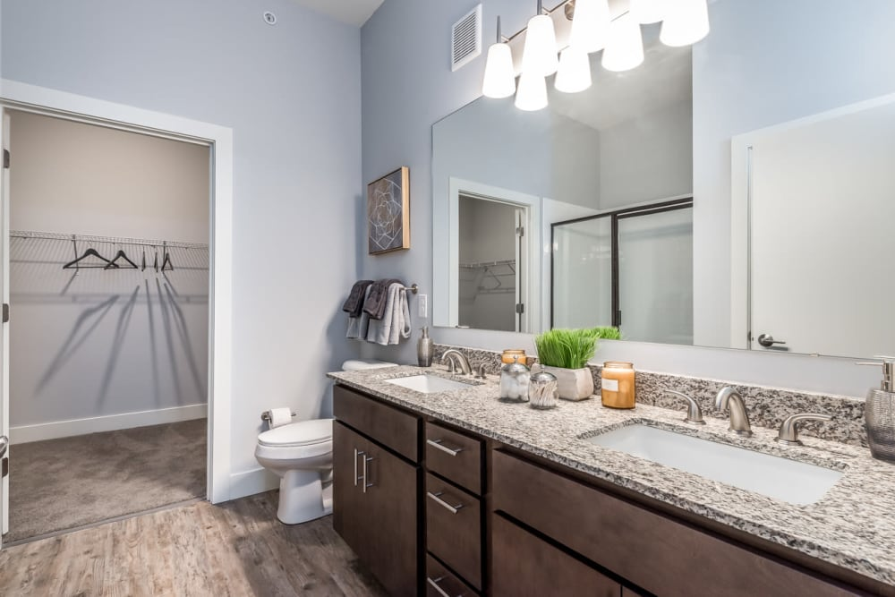 Spacious bathroom at Echelon Luxury Apartments in Cincinnati, Ohio