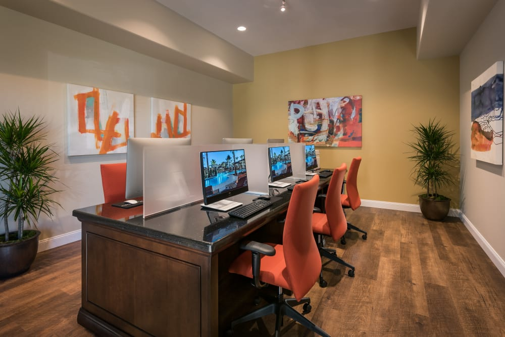 Business center with computers for resident use at San Piedra in Mesa, Arizona