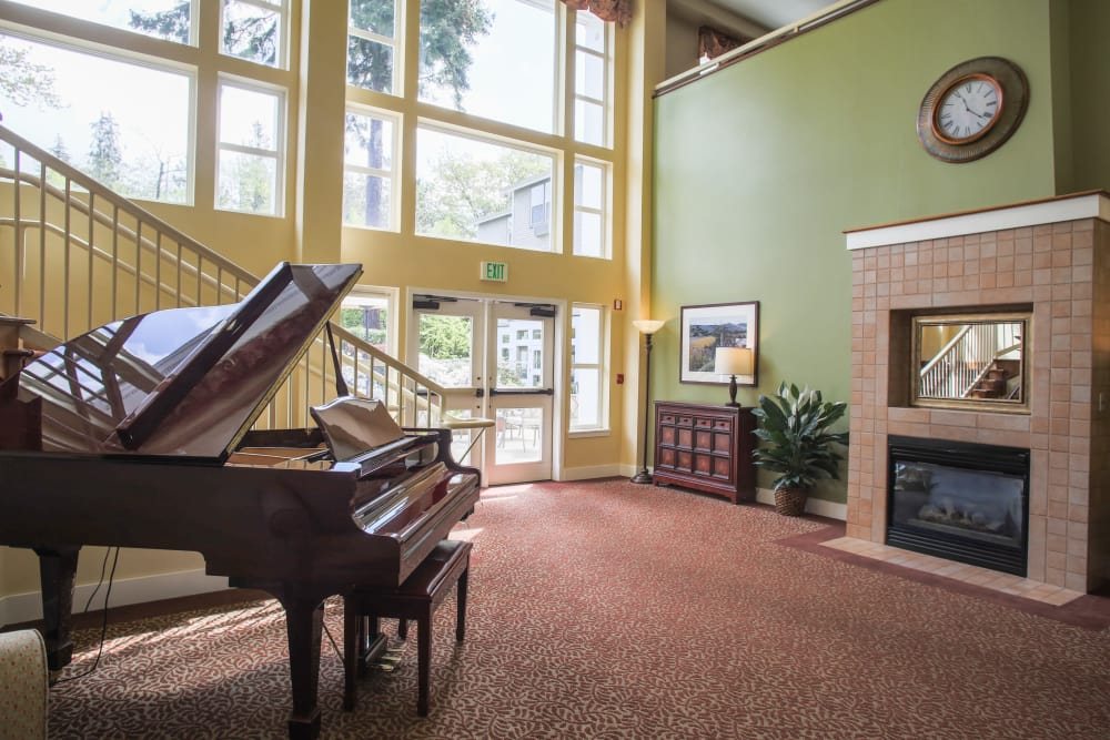 Lobby with piano at Gencare LifeStyle at Steel Lake in Federal Way, Washington