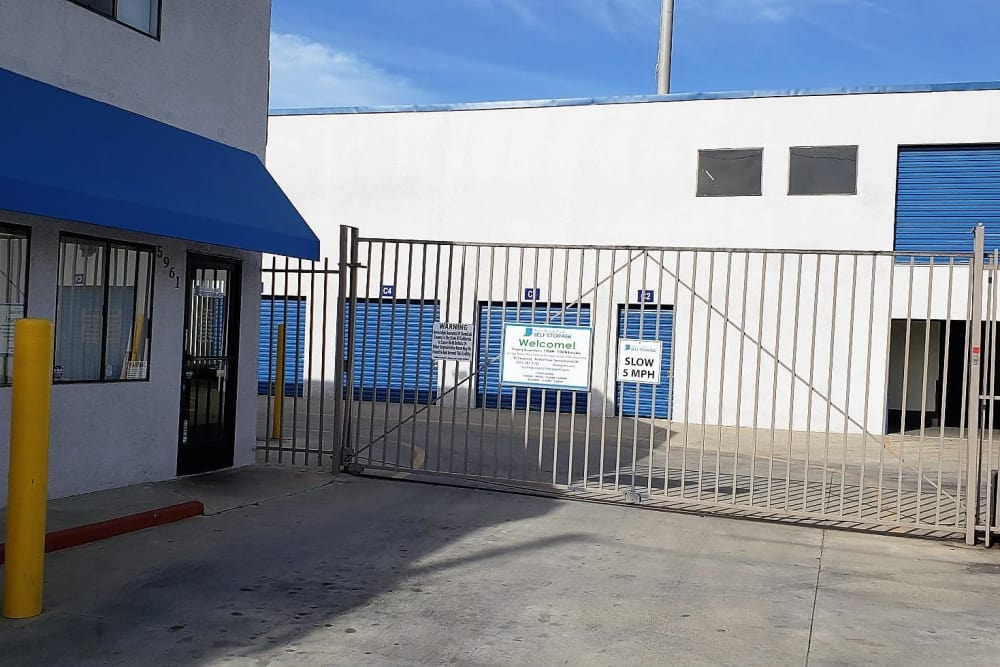 Front gate entrance at Huntington Park Self Storage