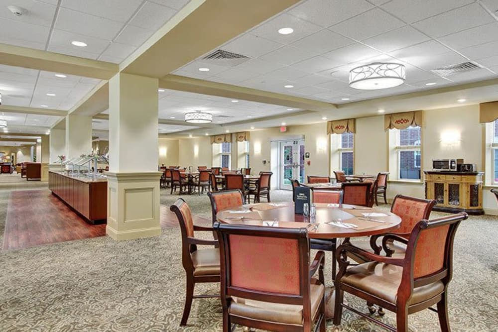 Dining area with buffet at Keystone Villa at Ephrata in Ephrata, Pennsylvania