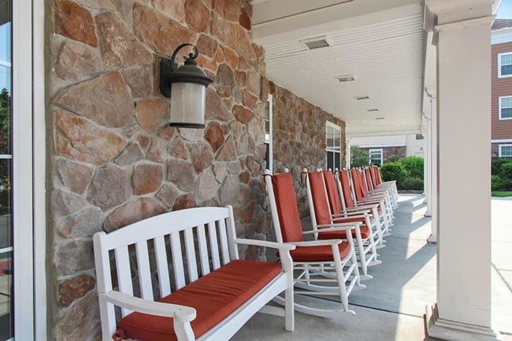 Front porch at Keystone Villa at Fleetwood in Blandon, Pennsylvania