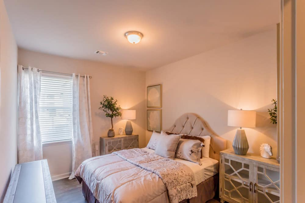 A well decorated apartment bedroom at Landmark Apartments in Little Rock, Arkansas