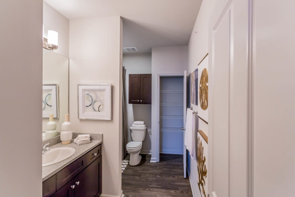 A large apartment bathroom at Landmark Apartments in Little Rock, Arkansas