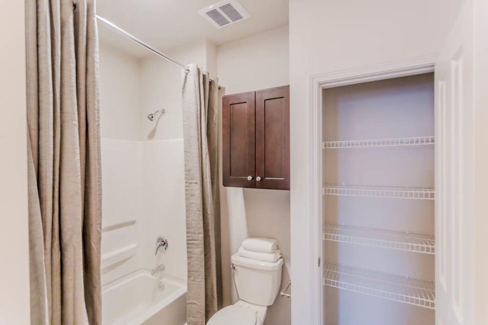 A bathtub in the bathroom at Landmark Apartments in Little Rock, Arkansas