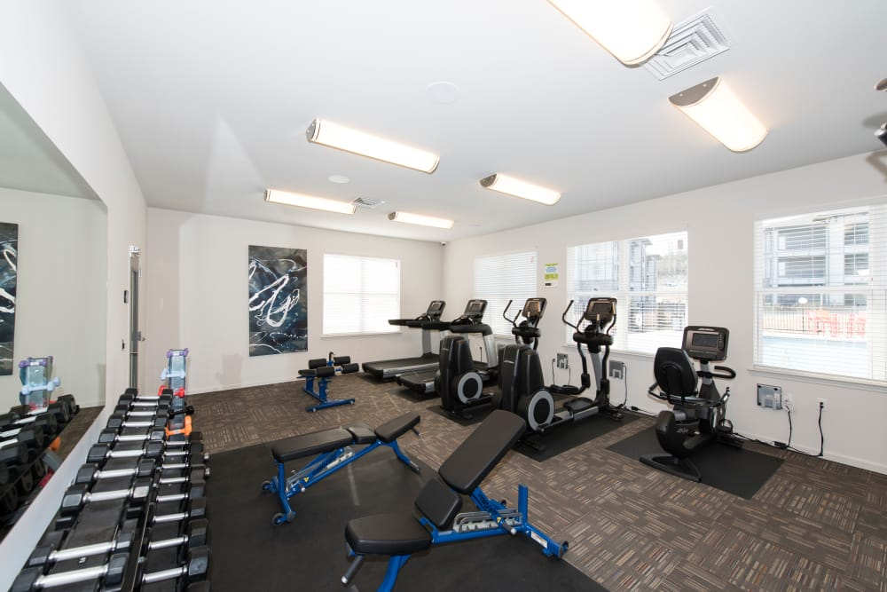 An onsite gym at Landmark Apartments in Little Rock, Arkansas