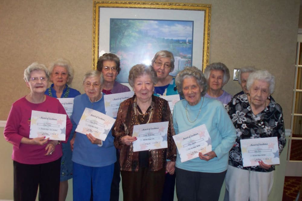 residents presenting FOX awards at Heritage Hill Senior Community in Weatherly, Pennsylvania