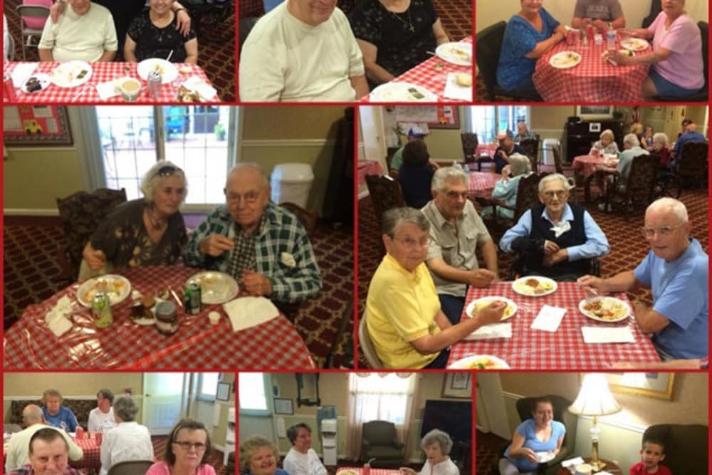 Collage of dining events at Heritage Hill Senior Community in Weatherly, Pennsylvania
