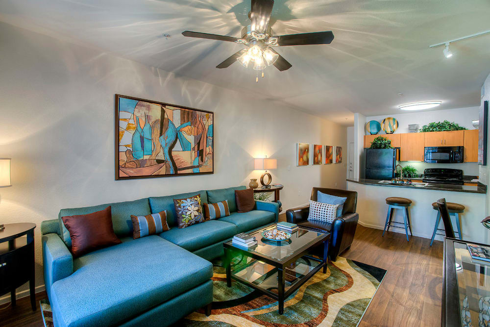 Modern decor in living area of model home at Park on Bell in Phoenix, Arizona