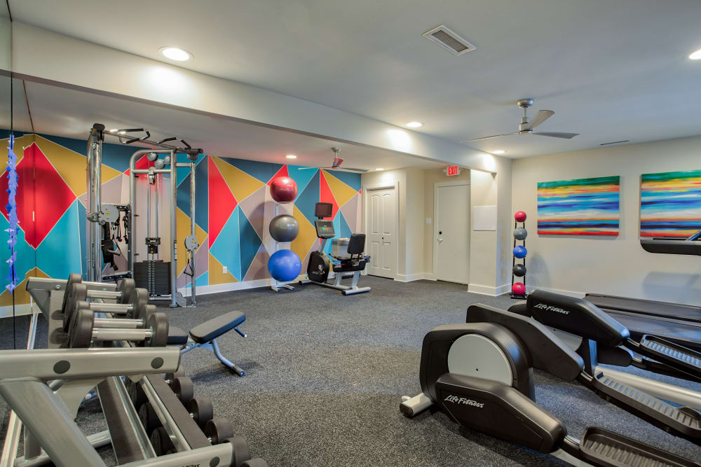 Fitness Center with weights at Hunter's Chase Apartments