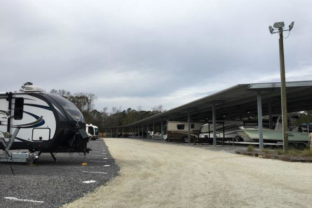 RV and boat parking at Monster Self Storage in Wando, SC