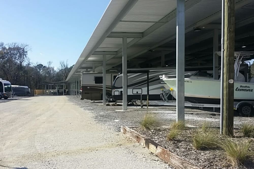 Parking available at Monster Self Storage in Wando, SC